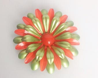 "Vintage Orange Green  Enamel Flower Brooch Extra Large Metallic Vtg Floral Pin 3"" Wide VGUC"