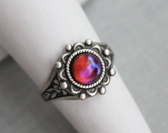VACATION SALE- Dragons Breath Mexican Fire Opal Ring. Antique Silver or Antique Brass