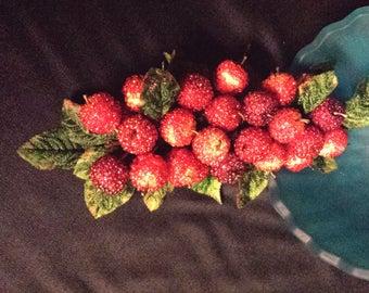 Crab Apple Wreath, beaded fruit, Small wreath