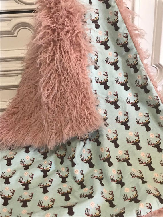 Baby blanket , Ready to Ship , play mat , ultra cuddle faux fur