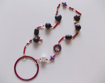 RED BROWN AND PURPLE TONES NECKLACE