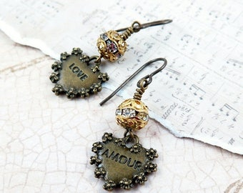 Heart Earrings, Love Amour, Heart Charms, Rhinestone Earrings, Whimsical Jewelry