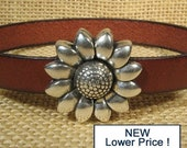 Sunflower Magnetic 10mm Flat Leather Clasps - Antique Silver - 10FCL-N1567-AS - Choose Your Quantity