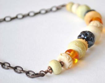 SALE Beaded Necklace, Bohemian Lampwork Glass Necklace, Neutral Colors, Spring Necklace, Eclectic Necklace