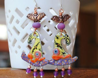 Witch Hat Earrings, Halloween Earrings, Bat Earrings, Spooky Earrings, Artisan Enamel Earrings, Long Dangle Earrings, Yellow Witch Hats