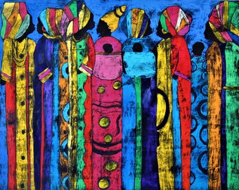 Tapestry of Life - ooak - 20 x 16ins (50 x 40cms) The rich tapestry of life is seen in Africa.