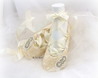 Ballet Slippers,Champagne Flats,Ivory,Beaded Flats,Ballet Flats,Wedding Flats,Bridal Shoes,Lace Up,Maid of Honor,Flower Girl,Elegant Flats