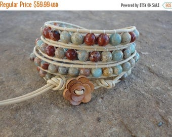 SALE 60% OFF Opale Beaded Leather Wrap Bracelet