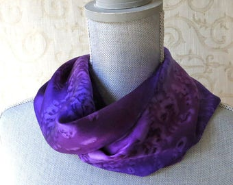 Skinny Silk Charmeuse Scarf Hand Dyed in Amethyst and Orchid
