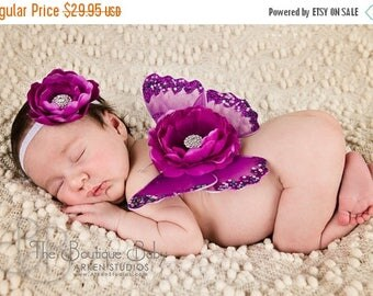Baby Butterfly Wings and Headband Set, Luxe Newborn Baby Wings, Baby Girl Photography Prop, Magenta Purple Glitter Wings, Flower Headband