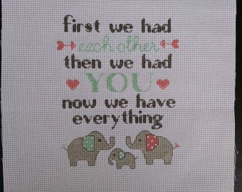 Completed Cross Stitch Baby Birth Announcement