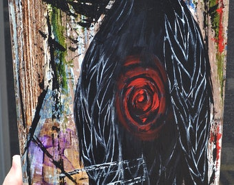 Crow/Bird Art, Spirit/Soul, Original Acrylic Painting, Listen To Your Spirit, It's Talking To You