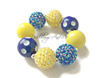 Royal Blue and Yellow Chunky Bracelet, Girls Bubblegum Bracelet, Gift For Girls, Party Favors, Yellow and Blue Bracelet,  Chunky Bracelet