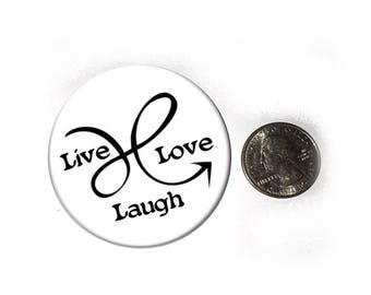 Doodle Arrow Live Laugh Love Refrigerator Magnet  2 1/4 inches in diameter  Fridge Magnet
