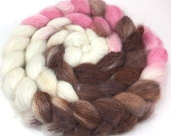 Alpaca/Silk  Combed Top - spinning fiber - Neapolitan roving