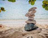 Beach Photography, Nature Print, Stacked Rocks Print, Carin, Zen Picture, St. John Photo, Relaxation Print, Oversized Wall Art, Home Decor