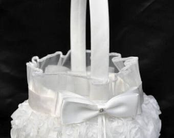 Flower Girl Basket, Rose, Bowknot, Satin, Wedding, Ceremony, Party, White. off - white