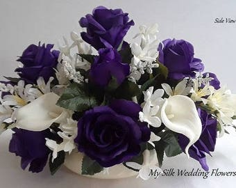 Purple, Roses, Real Touch, Calla Lilies, Stephanotis, Crystals, Freesias, Silk, Flower, Arrangement, Wedding, Centerpiece