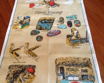Vintage Retro Linen/Cotton Souvenir Cloth Tea Towel - Opal Mining Australia