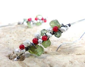 Pearl Earrings, Sterling Silver, Peridot Earrings, Coral Earrings, Strawberry Earrings, Long Earrings, Gemstone - Wild Alpine Strawberries