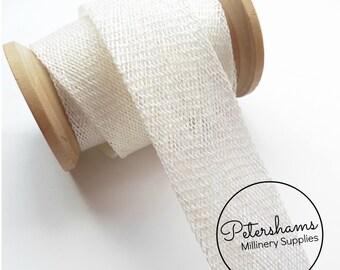 3cm Sinamay Bias Binding Tape Strip (1.6m/1.7yards) for Millinery & Hat Making - White