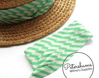 Wrap Around Puggaree Ribbon Hat Band for Hat Making / Millinery - Mint Green & White Stripe