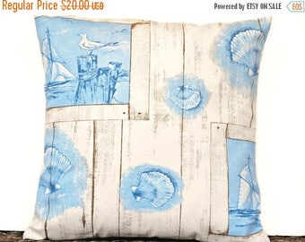 Christmas in July Sale Blue Coastal Pillow Cover Cushion Seashells Sailboats Seagulls Beige Rustic Decorative 16x16