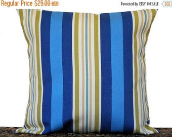 Christmas in July Sale Blue Stripes Pillow Cover Cushion Outdoors Cabana Lime Green Beige Coastal Beach Summer Decorative 18x18