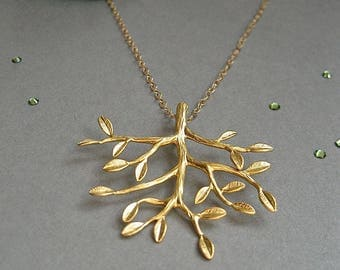 Tree of Life Necklace, Gold Tree Necklace, Family Tree Necklace, Branch Necklace, Branch Jewelry, Gift For Mom, Mother of the Bride Gift