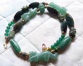 """Tigers, Lion, Elephants, Talismanic Jade and Agate Necklace, tiny """"or du pays"""" beads from Senegal"""