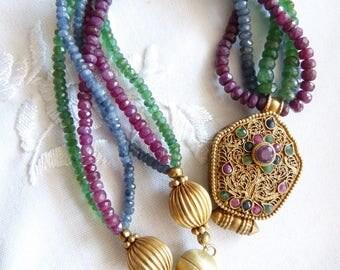 Antique tibetan gilt sterling silver Ghau Prayer Box, Ruby, Sapphire, Emerald neckalce