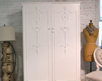 Armoire Painted Cottage Chic Shabby French Romantic Armoire AM223