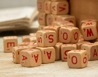 69 Vintage Scrabble Game Dices Alphabets Letters Repurpose Assemblage Collage Craft Jewelry Supply