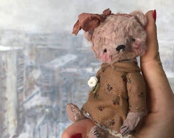 4 inch Artist Handmade Pocket Sized Miniature Teddy Bear Jenny by Sasha Pokrass