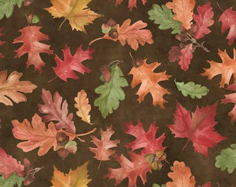 Wilmington Prints - Colors Of Fall - Tossed Leaves - Brown Fabric by yard or select cut  84413-237