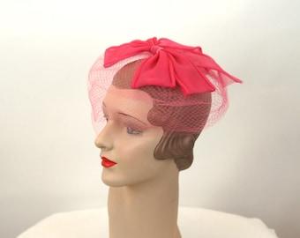 1960s veil hat velvet ribbon bow pink wedding party hat fascinator