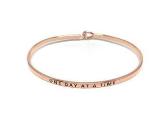 One Day at a Time Bangle, Rose Gold Bangle, Simple Rose Gold Bangle Bracelet, Rose Gold Engraved Bangle, Handstamped, Stacking Bracelet