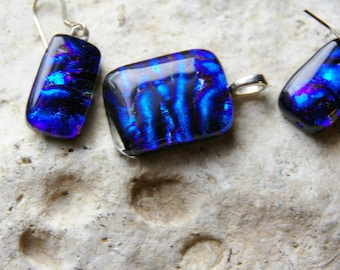 blue ripple dichroic fused glass necklace and earrings set