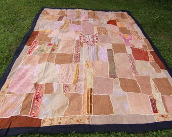 """Big Apricot  Patchwork Quilt Ralli Bed cover and cushions. Cotton. 88 x 70"""" 224 x 178 cm  Hand sewn."""