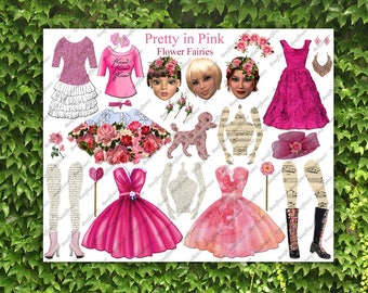 Handmade Digital Art Paper Doll Collage Sheet Flower Fairy Fairies Pretty In Pink  JPEG PNG Printable Altered Art Journal Scrapbooking Card