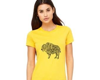 Bison Shirt, Tshirts For Women, Wild Buffalo Tee Shirt, Graphic T Shirt, Wild West Animals, Short Sleeved Yellow Cotton Crewneck Soft Tshirt