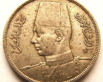 1938 EGYPT 5 MILLIEMES COIN ah1357 over 70 Years Old King Farouk Copper Nickel Coin