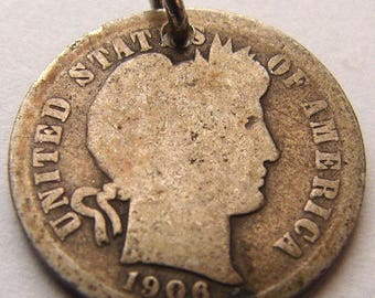 LIBERTY BARBER DIME 1906 year Miss Liberty dime 10 cents Coin Charm for bracelet