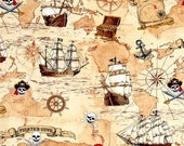 Pirates Cove Treasure Fabric -- LAST Piece -- HARD Find --40-70% off Patterns n Books SALE