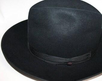 Vintage Black Wide Brim Fedora By Fernandez Roche 6 7/8