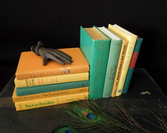Book Collection Yellow Maize Green Book Stack - Colorful Bookshelf Books For Decor Vintage - Home Staging Decoration