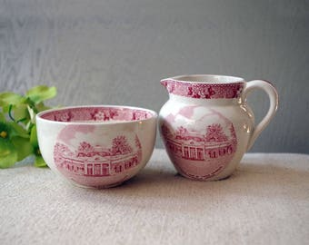 Adams Jonroth MONTICELLO Thomas Jefferson Home Red Pink Transferware Creamer Sugar Bowl