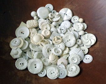 Vintage White Button Lot of 150 Plus - Plastic White Buttons to Repurpose and Remake