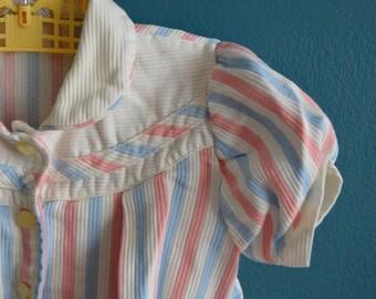 Vintage 1960s Girl's Pastel Stripe Jacket - Size 4T
