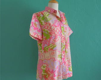 vintage 60's pastel pink and green floral print top // 60's blouse ~ small medium